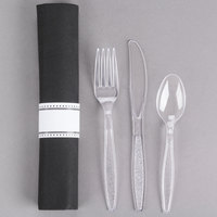 Visions 17 inch x 17 inch Black Pre-Rolled Linen-Feel Napkin and Clear Heavy Weight Plastic Cutlery Set - 25/Pack
