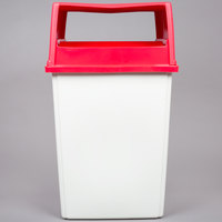Rubbermaid Glutton 56 Gallon White Trash Can and Red Lid with Doors