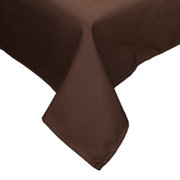 54 inch x 114 inch Brown Hemmed Polyspun Cloth Table Cover