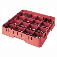 Cambro 16S434163 Camrack 5 1/4 inch High Red 16 Compartment Glass Rack