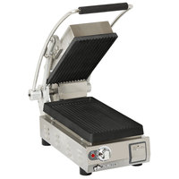Star PGT7I Pro-Max 2.0 Single 9 1/2 inch Panini Grill with Grooved Cast Iron Plates - Dial Controls