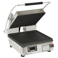 Star PGT14IEGT Pro-Max 2.0 Single 14 inch Panini Grill with Grooved Top and Smooth Bottom Cast Iron Plates - Electronic Controls