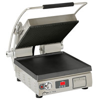 Star PGT14ITGT Pro-Max 2.0 Single 14 inch Panini Grill with Grooved Top and Smooth Bottom Cast Iron Plates - Electronic Timer