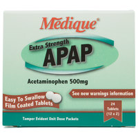 Medique 17564 Extra Strength APAP Acetaminophen Tablets - 24 / Box