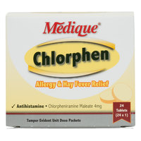 Medique 24164 Chlorphen Allergy and Hay Fever Relief Tablets - 24 / Box