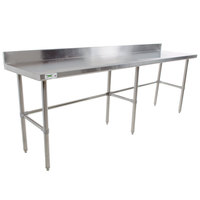 "Regency 30"" x 108"" 16-Gauge 304 Stainless Steel Commercial Open Base Work Table with 4"" Backsplash"