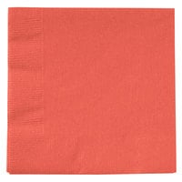 Creative Converting 803146B Coral Orange 2-Ply Beverage Napkin - 50/Pack