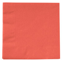 Creative Converting 803146B Coral Orange 2-Ply Beverage Napkin - 50 / Pack