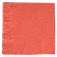 Creative Converting 803146B Coral Orange 2-Ply Beverage Napkin   - 50/Pack