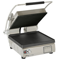 Star PGT28-IGT Pro-Max Single 28 inch Panini Grill with Grooved Top and Smooth Bottom Cast Iron Plates - Dial Controls