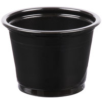 Choice 1 oz. Black Plastic Souffle Cup / Portion Cup   - 100/Pack