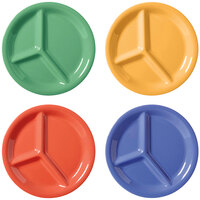 GET CP-10-MIX Diamond Mardi Gras 10 1/4 inch Three Compartment Melamine Plate, Assorted Colors - 12 / Case
