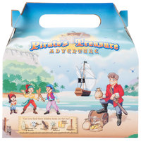 6 7/16 inch x 4 inch x 3 3/4 inch Kids Take-Out Meal Box with Pirate Design - 96 / Case