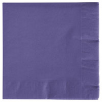Creative Converting 57115B Purple 3-Ply Beverage Napkin - 50 / Pack