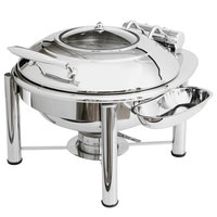 Eastern Tabletop 3939GPL Crown 4 Qt. Stainless Steel Round Induction Chafer with Pillar'd Stand and Hinged Glass Dome Cover