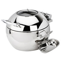 Eastern Tabletop 39311 Crown 11 Qt. Stainless Steel Round Induction Soup Chafer with Hinged Glass Dome Cover