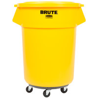 Rubbermaid BRUTE 55 Gallon Yellow Trash Can with Lid and Dolly