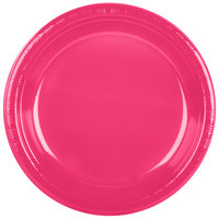 Creative Converting 28177031 10 inch Hot Magenta Pink Plastic Plate - 20/Pack