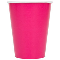 Creative Converting 56177B 9 oz. Hot Magenta Pink Poly Paper Hot / Cold Cup - 24/Pack
