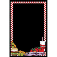 Rainbow Sign Mfg. RMV-2436-HB 24 inch x 36 inch Black Marker Board with Hamburger Graphic