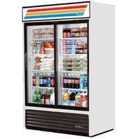 True GDM-45-LD White Glass Sliding Door Merchandiser with LED Lighting - 45 Cu. Ft.