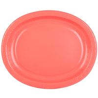 Creative Converting 433146 12 inch x 10 inch Coral Orange Oval Paper Platter - 8/Pack