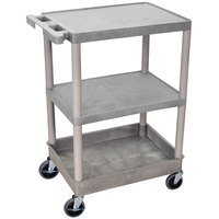 Luxor / H. Wilson STC221-G Gray 3 Shelf Utility Cart - 1 Tub Shelf, 24 inch x 18 inch x 37 1/2 inch