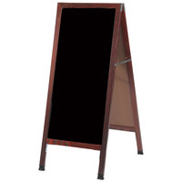 Aarco 42 inch x 18 inch Cherry Stained Solid Oak Wood Narrow A-Frame Sidewalk Board with Black Porcelain Marker Board