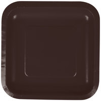 Creative Converting 453038 7 inch Chocolate Brown Square Paper Plate - 18/Pack