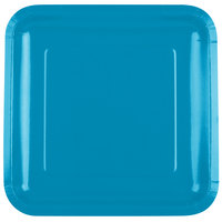 Creative Converting 463040 9 inch Turquoise Blue Square Paper Plate - 18/Pack