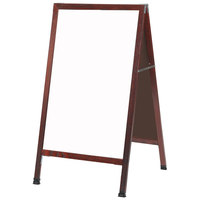 Aarco 42 inch x 24 inch Cherry Stained Solid Oak Wood A-Frame Sidewalk Board with White Porcelain Marker Board