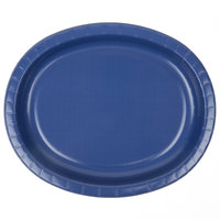 Creative Converting 433278 12 inch x 10 inch Navy Blue Oval Paper Platter - 8/Pack