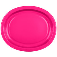 Creative Converting 433277 12 inch x 10 inch Hot Magenta Pink Oval Paper Platter - 8/Pack