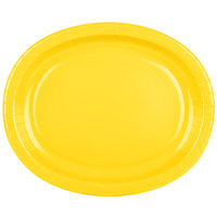 Creative Converting 433269 12 inch x 10 inch School Bus Yellow Oval Paper Platter - 8/Pack