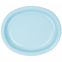 Creative Converting 433279 12 inch x 10 inch Pastel Blue Oval Paper Platter - 8/Pack