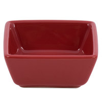 World Tableware SL-3-R Slate 2.75 oz. Square Red Porcelain Dipping Bowl - 36/Case