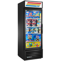 True GDM-23F-HC-LD BK LH Black One Section Glass Door Merchandiser Freezer with LED Lighting and Left-Hinged Door