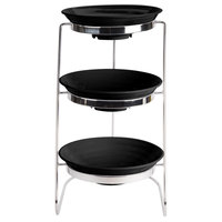 GET MTS029/ML73BK-SET 3-Tier Cascading Display Stand Set with 2 Qt. Black Round Ribbed Melamine Bowls