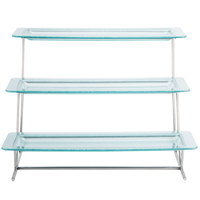 GET MTS034/HI2260JA-SET 3-Tier Cascading Display Stand Set with 21 1/2 inch x 8 1/4 inch Jade Trays