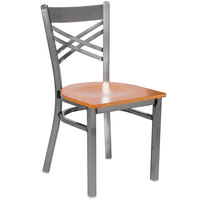 Lancaster Table & Seating Clear Coat Steel Cross Back Chair with Cherry Wood Seat