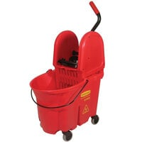 Rubbermaid FG757888RED WaveBrake® 35 Qt. Red Mop Bucket with Down Press Wringer