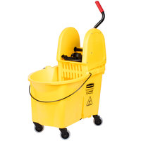 Rubbermaid FG757688YEL WaveBrake® 44 Qt. Yellow Mop Bucket with Down Press Wringer