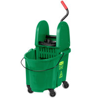 Rubbermaid FG757888GRN WaveBrake® 35 Qt. Green Mop Bucket with Down Press Wringer