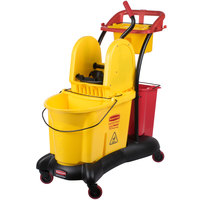 Rubbermaid FG777700YEL WaveBrake® 35 Qt. Yellow Mopping Trolley with Down Press Wringer