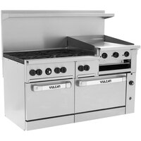 Vulcan 60SS-6B24GBP Endurance 6 Burner 60 inch Liquid Propane Range with Griddle/Broiler and Standard Oven Base - 268,000 BTU