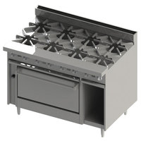 Blodgett BR-8-36C 8 Burner 48 inch Liquid Propane Range with Convection Oven Base - 270,000 BTU