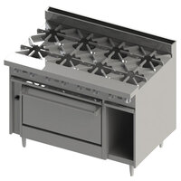 Blodgett BR-8 8 Burner 48 inch Natural Gas Range with Cabinet Base - 240,000 BTU
