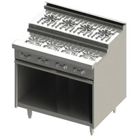 Blodgett BRE-4-4-36C 8 Burner 36 inch Step-Up Liquid Propane Range with Convection Oven Base - 150,000 BTU