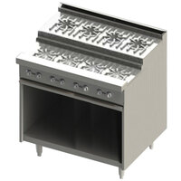 Blodgett BRE-4-4-36C 8 Burner 36 inch Step-Up Natural Gas Range with Convection Oven Base - 150,000 BTU