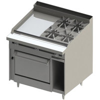 Blodgett BR-24G-4-36 4 Burner 48 inch Manual Natural Gas Range with Left Side 24 inch Griddle and Oven Base - 198,000 BTU